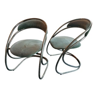 Vintage Green Metal Chairs - A Pair For Sale