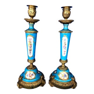 Early 20th C. Antique French Porcelain Candle Holders- A Pair For Sale
