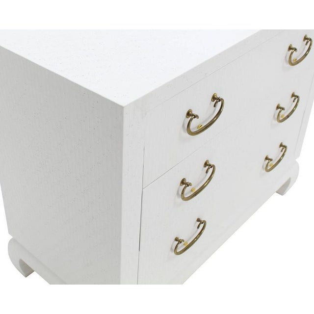 White Baker Three-Drawer White Lacquer Cloth Cabinet Brass Pulls For Sale - Image 8 of 9