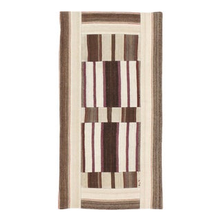 Late 20th Century Contemporary Turkish Patchwork Art Deco Style Flatweave Kilim Throw Rug For Sale