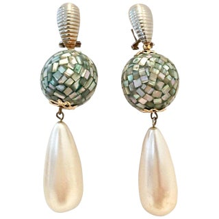70's Abalone Shell & Faux Pearl Drop Pierced Earrings For Sale