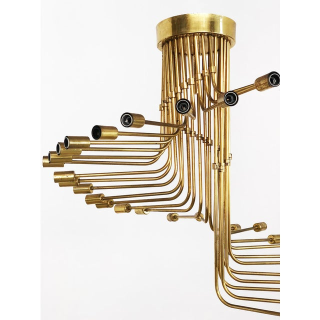 Mid-Century Modern Gaetano Sciolari Stilnovo Gaetano Sciolari Chandelier for Stilnovo Brass 1950 For Sale - Image 3 of 6