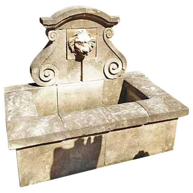 Early 21st Century Hand Carved Limestone Wall Fountain For Sale - Image 5 of 5
