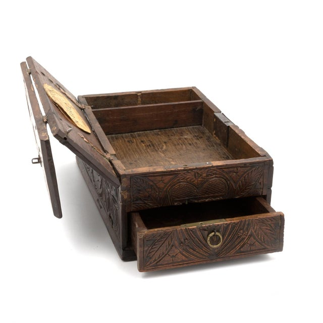 A 17th Century Carved Oak Box With Side Drawer Dated 1655. For Sale In San Francisco - Image 6 of 13