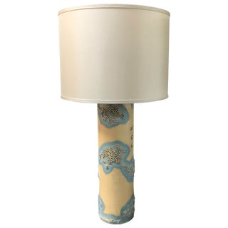 Textile Print Roll as Lamp From France With Custom Shade For Sale