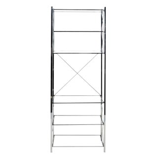 1990s Mid Century Modern Chrome and Glass Etagere For Sale