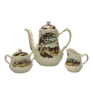 "1950s Traditional ""Sunday Morning"" Grinley Porcelain Coffee Set - Set of 3"