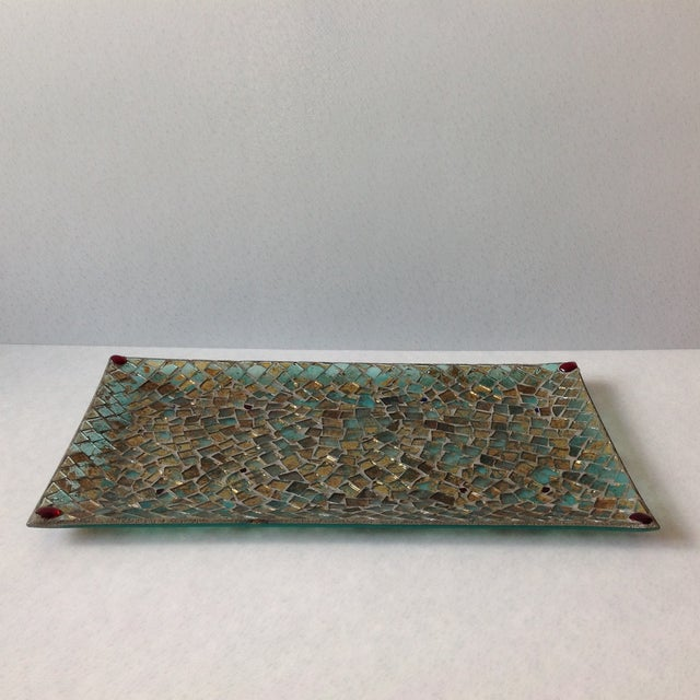 Gold Foil Glass Mosaic Tray - Image 7 of 11