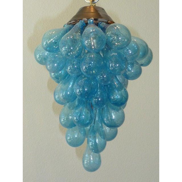 Blue Murano Glass Drop Grape Chandelier - Image 5 of 9