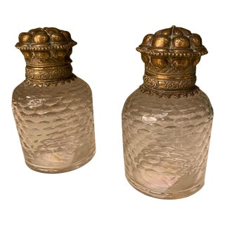 Bronze and Glass Inkwells From France - a Pair For Sale