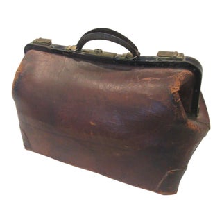 1920s Vintage Cowhide Leather Doctors Bag