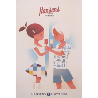 2015 Danish Modern Poster, Hansen's Ice Cream For Sale