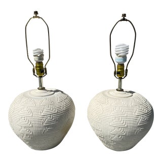 Round Plaster Lamps With Carving Design. For Sale