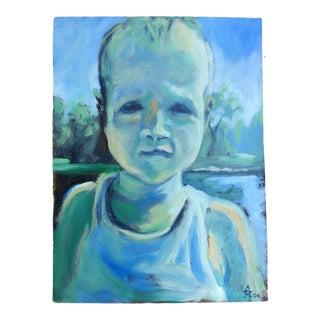 "Original Vintage Mark Pullen ""Baby "" Portrait Oil Painting Signed For Sale"