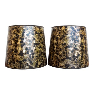 Mid Century Metallic Gold and Black Marble Drum Lamp Shades - a Pair For Sale