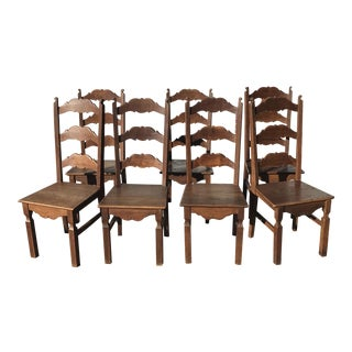 Vintage Oak High Back French Dining Chairs - Set of 7 For Sale