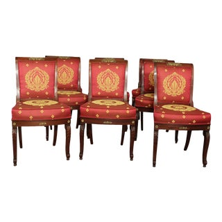 French Empire Antique 19th Century Set 8 Mahogany Dining Chairs For Sale