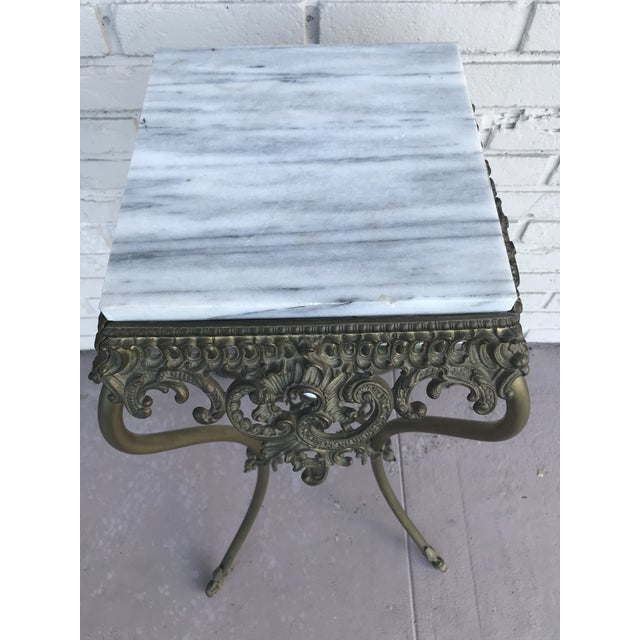 1940s Vintage Marble Top Wrought Iron Pedestal For Sale - Image 5 of 9