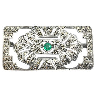 Art Deco Marcasite & Green Stone Brooch For Sale