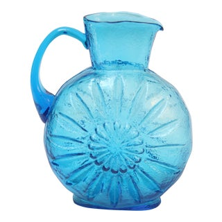 Stelvia Blue Blown-Glass Pitcher For Sale