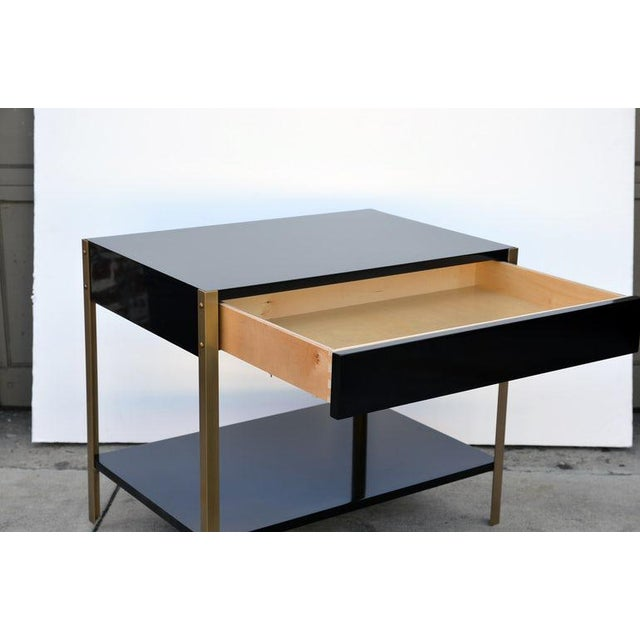 "Contemporary ""Laque"" Black Lacquer and Brass Night Stand For Sale - Image 4 of 7"