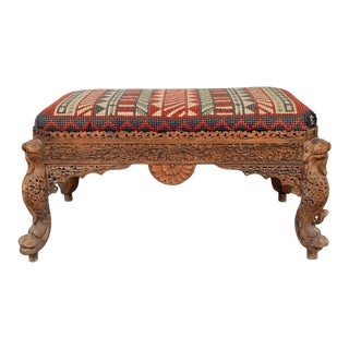 Mid 20th Century Burmese Carved Mahogany Bench For Sale