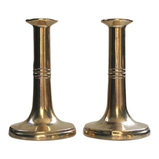 1970's Italian Brass Candlesticks - a Pair For Sale