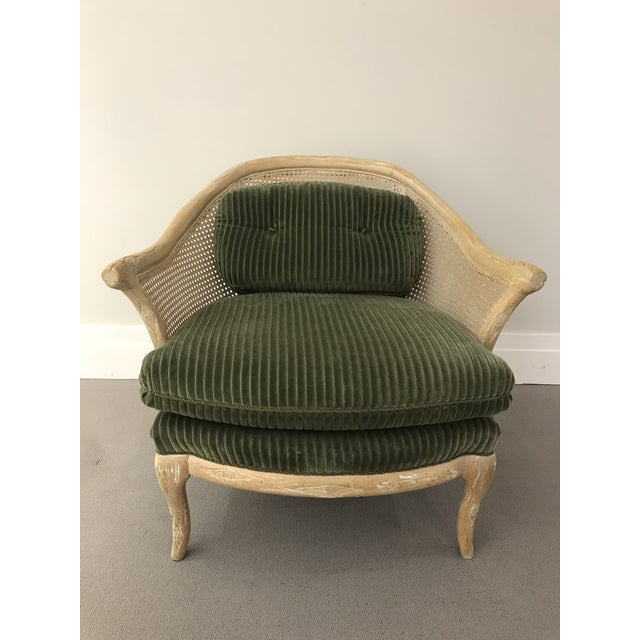 1960s Faux Bois / Cane Arm Chair With Green Corduroy For Sale - Image 13 of 13