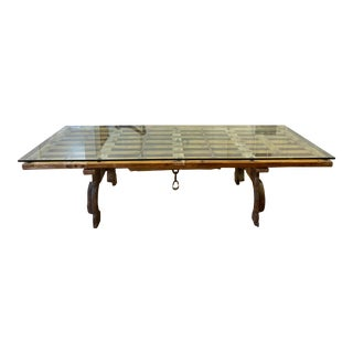 Custom Design Colonial Mexican Door Ox Cart Table For Sale