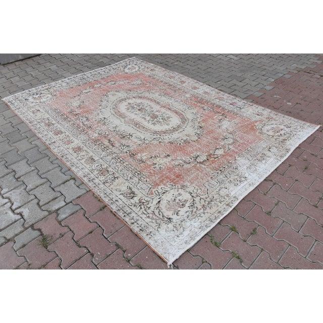 Nomadic Antique Handmade Muted Anatolian Faded Salmon Carpet - 6′9″ × 9′2″ - Image 3 of 10