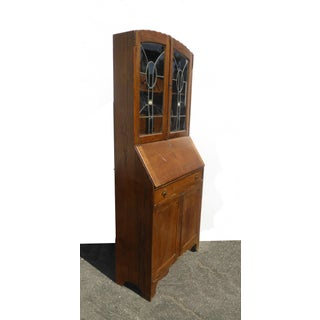 Antique Oak French Country Hutch Storage Curio Cabinet With Desk Preview
