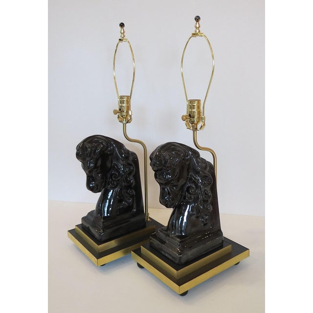 Mid- Century Ceramic and Brass Horsehead Lamps - A Pair - Image 4 of 7