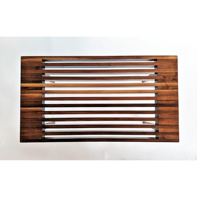 Mid Century Modern Wooden Slat Bench - Image 7 of 9