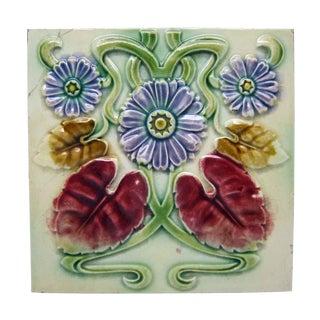 Floral Decorative Colorful Art Nouveau Tiles - Set of 15