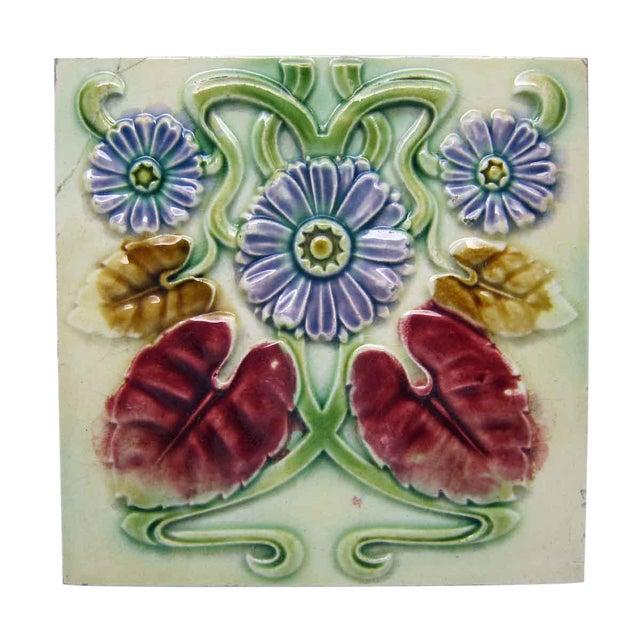Floral Decorative Colorful Art Nouveau Tiles - Set of 15 For Sale