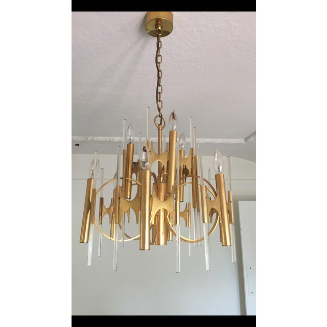 Italian 1950s Gaetano Sciolari Brass and Glass Chandelier For Sale - Image 3 of 3