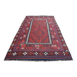 """Vintage Large Afghan Tribal Wool Rug - 7'10"""" x 13'2"""""""