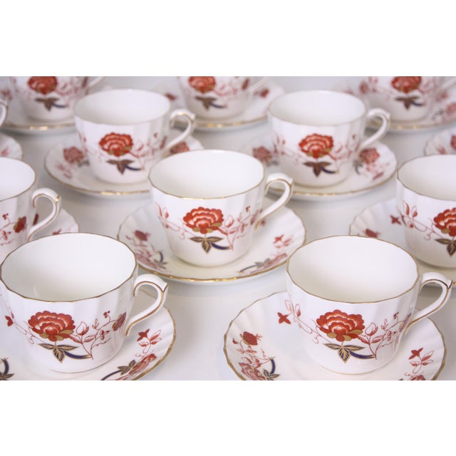 Early 20th Century Vintage Royal Crown Derby Bali Pattern Cups and Saucers - Set of 12 For Sale - Image 5 of 10