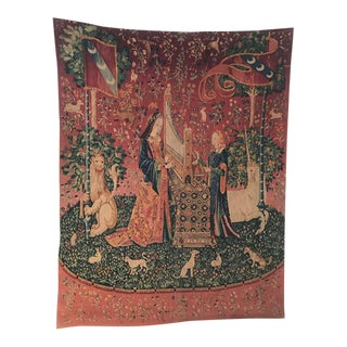 "Antique French Dame à La Licorne ""The Lady Unicorn"" Tapestry"