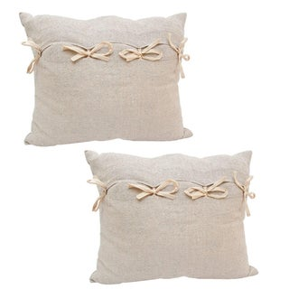 Linen Pillows with Ribbon Bow Ties - Pair For Sale