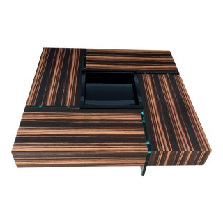 1990s Zebra Wood and Glass Coffee Table For Sale