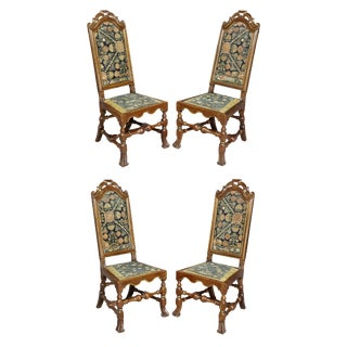 Set of Four Queen Anne Walnut and Parcel Gilt Side Chairs For Sale
