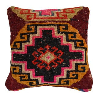 """15"""" Vintage Hand Knotted Pillow Cover From Turkish Rug For Sale"""