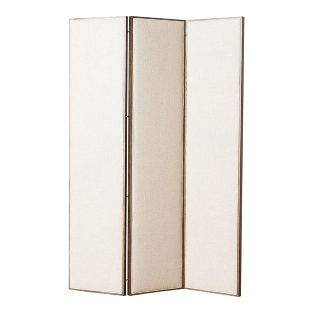 Ainsley Linen Upholstered Panel Screen For Sale