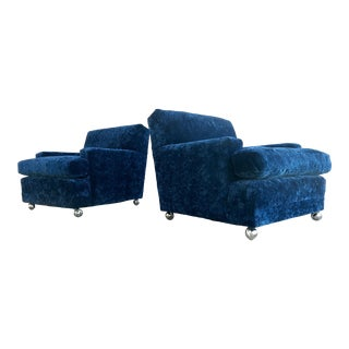 Mid Century 70s Milo Baughman Style Velvet Lounge Chairs - a Pair For Sale