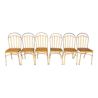 Vintage Mid Century Yellow Industrial Metal Dining Chairs-Set of 6 For Sale