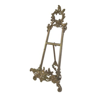 1980s Rococo Design Brass Table-Top Easel For Sale