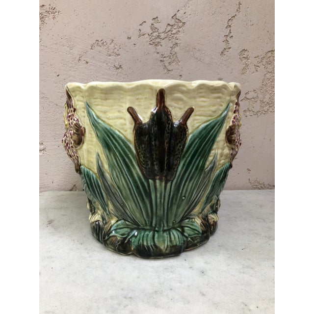 19th Century Majolica Jardinière Flower and Snail Wasmuel For Sale - Image 4 of 8