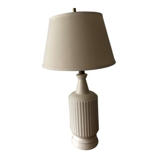 Danish Mid Century Modern Ceramic and Teak Table Lamp For Sale