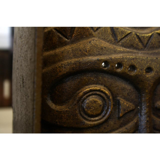 Primitive Cast Bronze Tiki Mask Bookends For Sale - Image 3 of 4